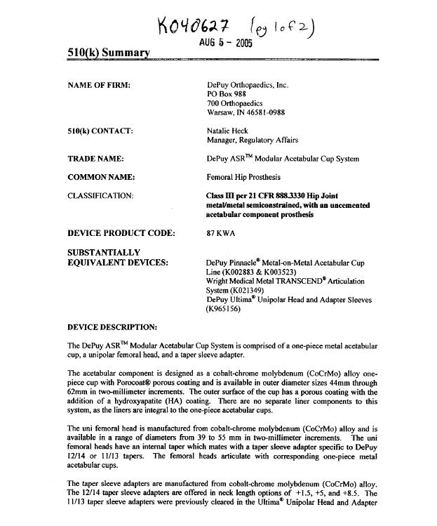 FDA 510K DePuy ASR Modular Acetabular Hip Replacement File